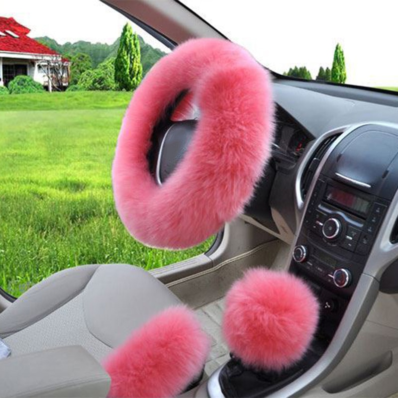 3pcs Winter Steering Wheel Covers Wool Heated Cover Plush