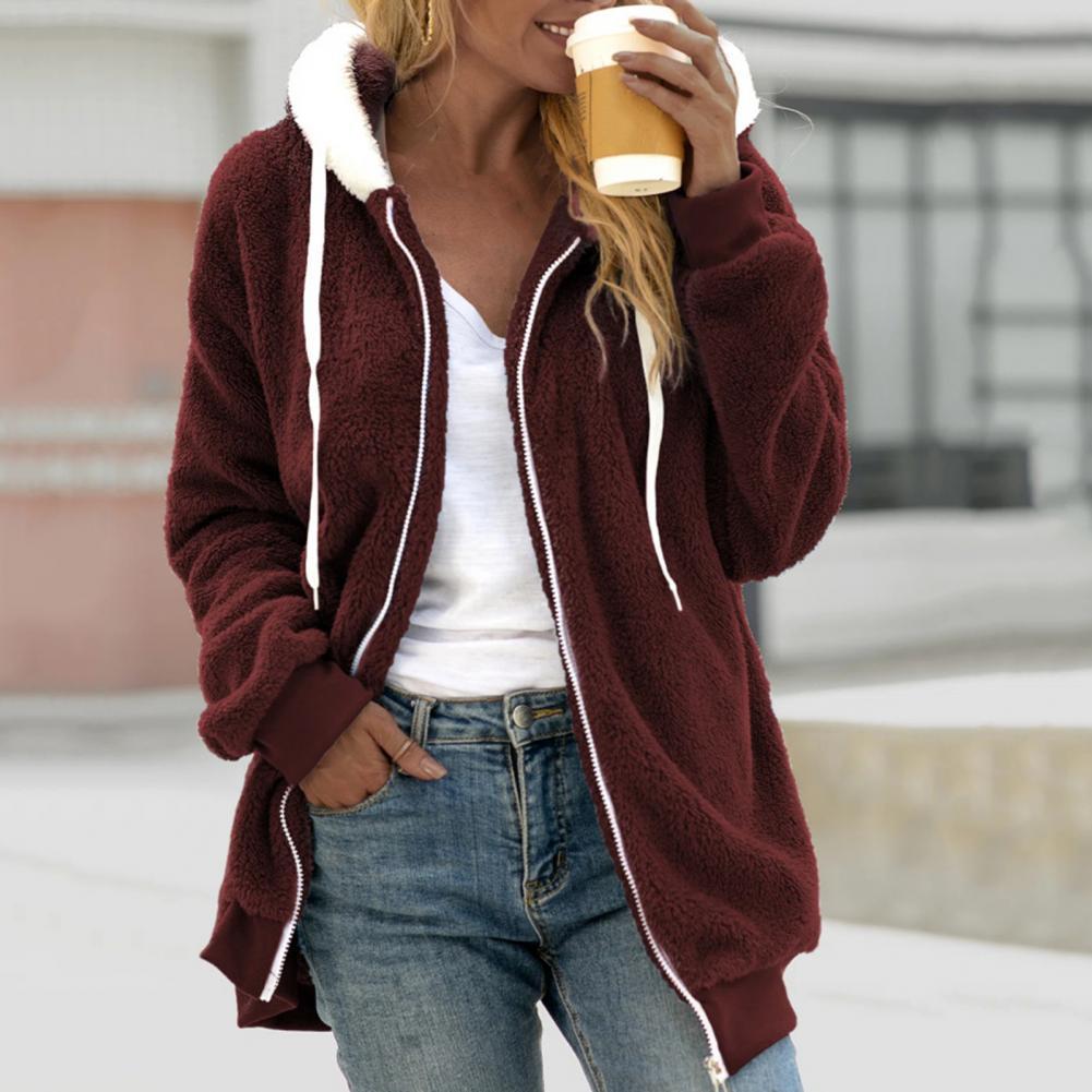 Женские куртки с капюшоном, кардиган контрастных цветов с кулиской и капюшоном, зимняя куртка для женщин, повседневная одежда, новинка 2021