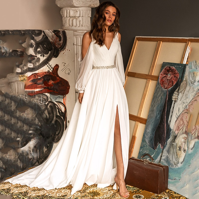 Eightree الباردة الكتف فستان الزفاف الشيفون حبة عالية انقسام ثوب زفاف 2021 نفخة الأكمام زي العرائس طول الأرض مخصص