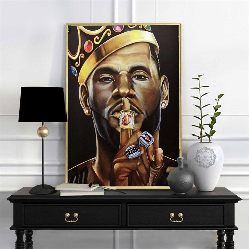 Lebron James Super basketball Star Champion Kings pintura cartel Arte luz lienzo pared de la habitación del hogar impresión quadro cuadros