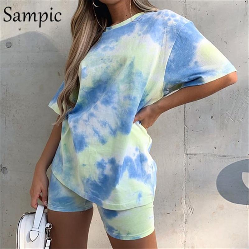 Sampic/женские свободные летние комплекты с круглым вырезом и галстуком-бабочкой, топ с короткими рукавами и байкерские обтягивающие шорты, по...