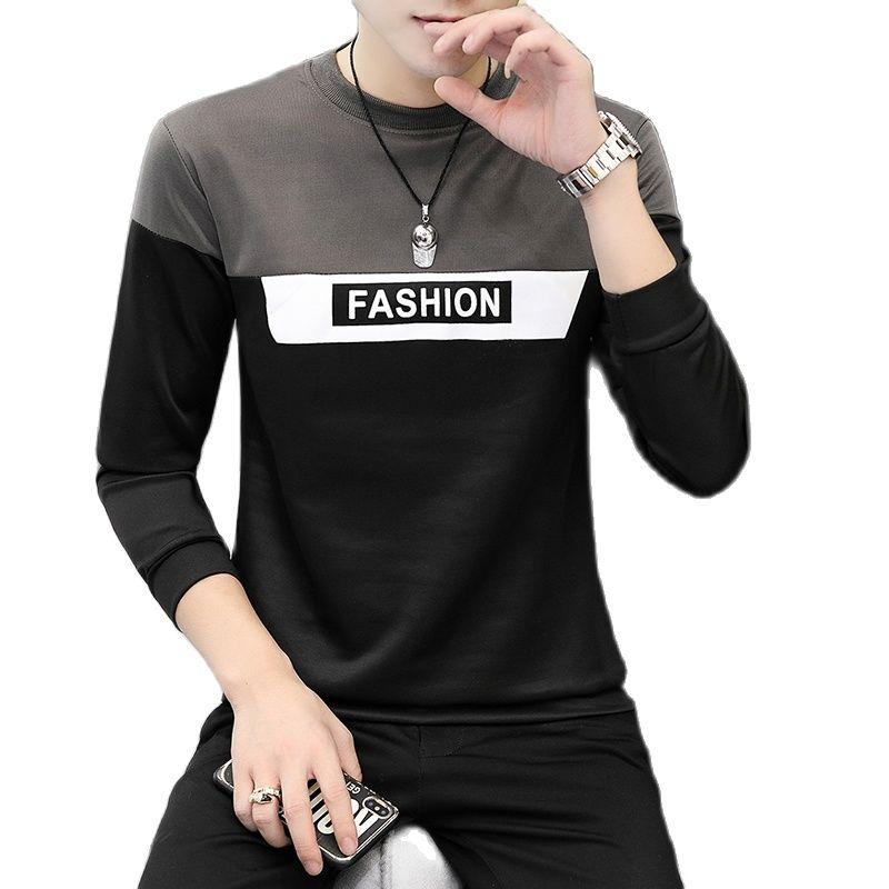 Camiseta larga de manga larga para hombre párr Otoño ubicación camiseta a...