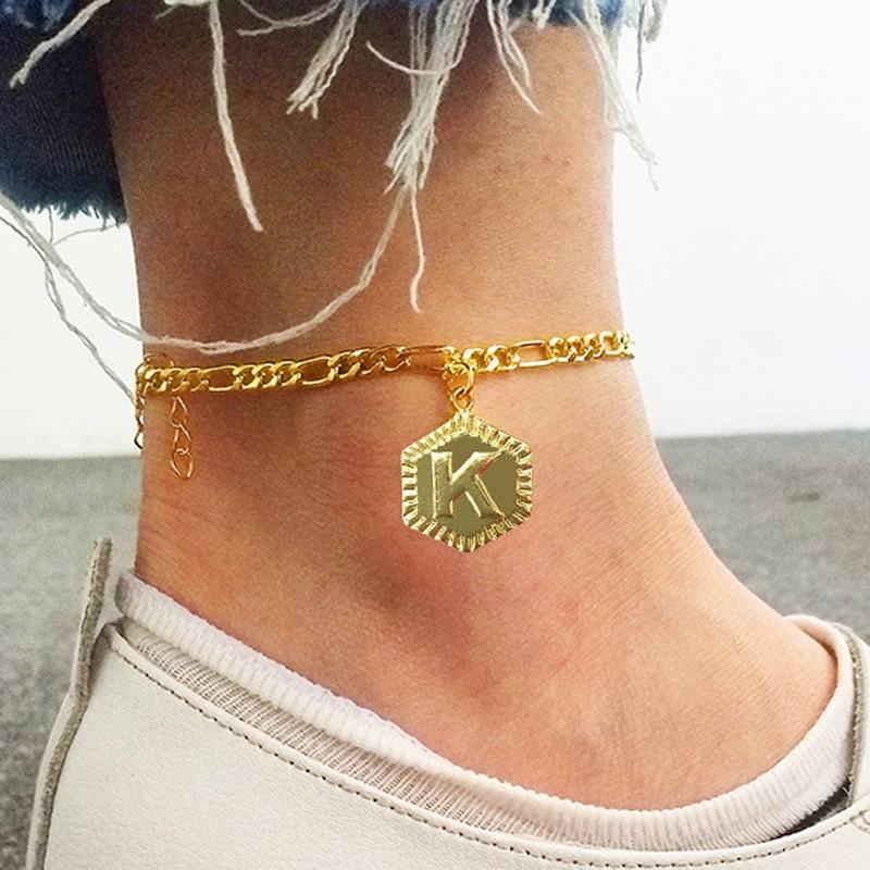 Tobillera con inicial de 4mm chapada en oro de 18k con letra de A-Z para mujer, tobillera a la moda con letra de alfabeto, joyería para pies con extensión