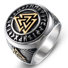 Anillos Retro para hombre Viking Futhark runas nórdico triángulo símbolo Valknut anillo Acero inoxidable Punk Rock joyería