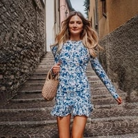 europe station 2021 spring and autumn new womens dress tie neck long sleeve print sexy slim back dress dress for women