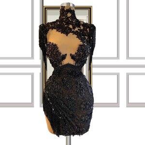 Sheer Black Beaded Short Prom Dresses robe de soirée de mariage Cocktail Dresses Elegant Dress Women For Party выпускное платье