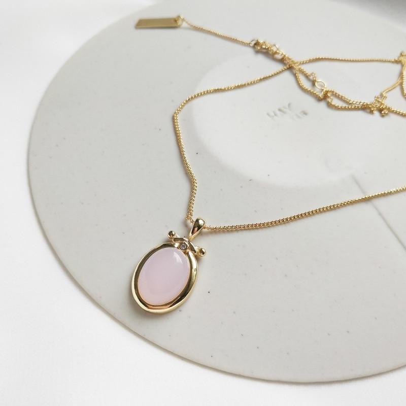 Joyería de plata de ley 925, cadena de oro amarillo, piedra de cuarzo rosa Natural, colgante de Gargantilla, collares ovalados redondos, collar de cuarzo rosa