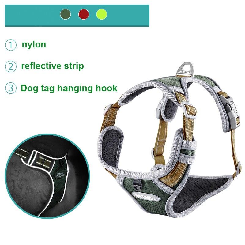 Arnés tipo chaleco para perro mascota collar perro etiqueta dropship Breakaway liberación rápida Nylon reflectante arneses