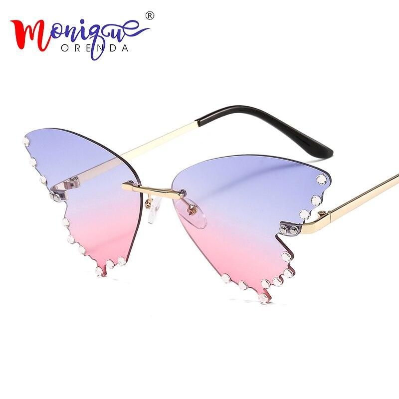 Óculos de sol borboleta para homens e mulheres, óculos de sol com strass, luxuoso, sem aro, lentes de chama, uv400