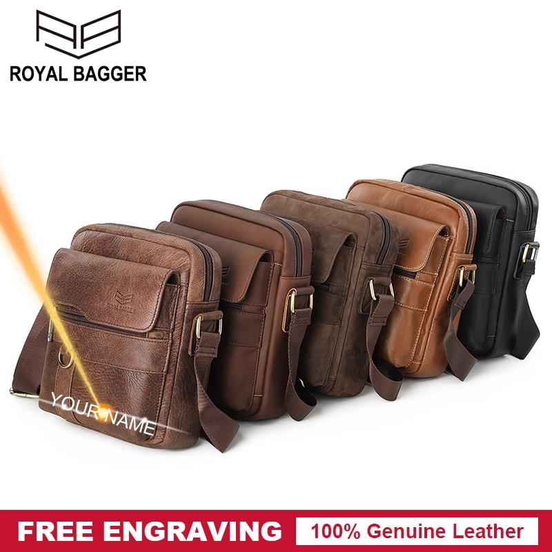 Royal Bagger Small Shoulder Bags for Men Real Genuine Cow Leather Vintage Fashion Casual Crossbody Sling Bag Retro Travel Pocket