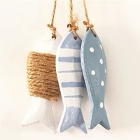 wood fish hangings decoration cute mediterranean style wooden fish ornament home children bedroom lifebuoy small drop pendant g