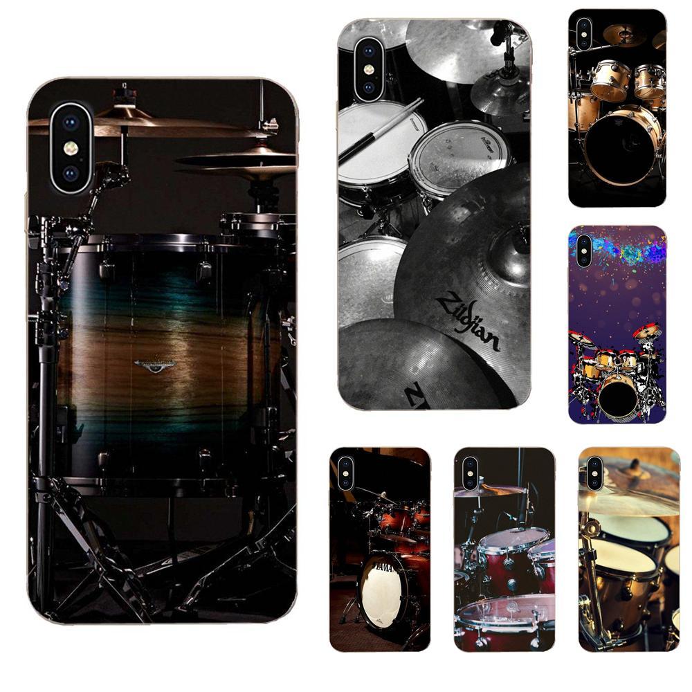 Cajas del teléfono TPU para Samsung Galaxy J1 J2 J3 J330 J4 J5 J6 J7 J730 J8 2015, 2016, 2017, 2018 mini moda platillo tambores de música