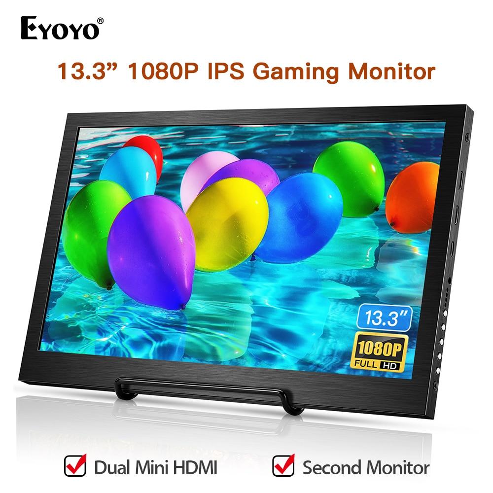 "Eyoyo EM13F 13 ""HDMI portátil HDR IPS Monitor Gaming 1920X1080 pantalla LED con jack de audio Monitor para PC portátil PS4 Xbox interruptor"