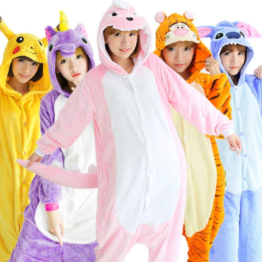 Kigurumi Onesies Pajamas Panda Stitch Adult Flannel Dinosaur Animal Kigurumi Pajamas Owl Unicorn Cosplay Onesies Cartoon Pikachu