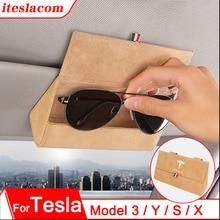2021 New Tesla Car Sun Visor Sunshade Glasses Box Glasses Holder Storage Box Leather For Tesla Model