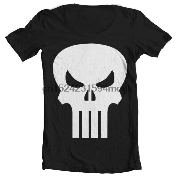 Official Licensed The Punisher Skull Wide Neck T-Shirt S-XXL(Black)