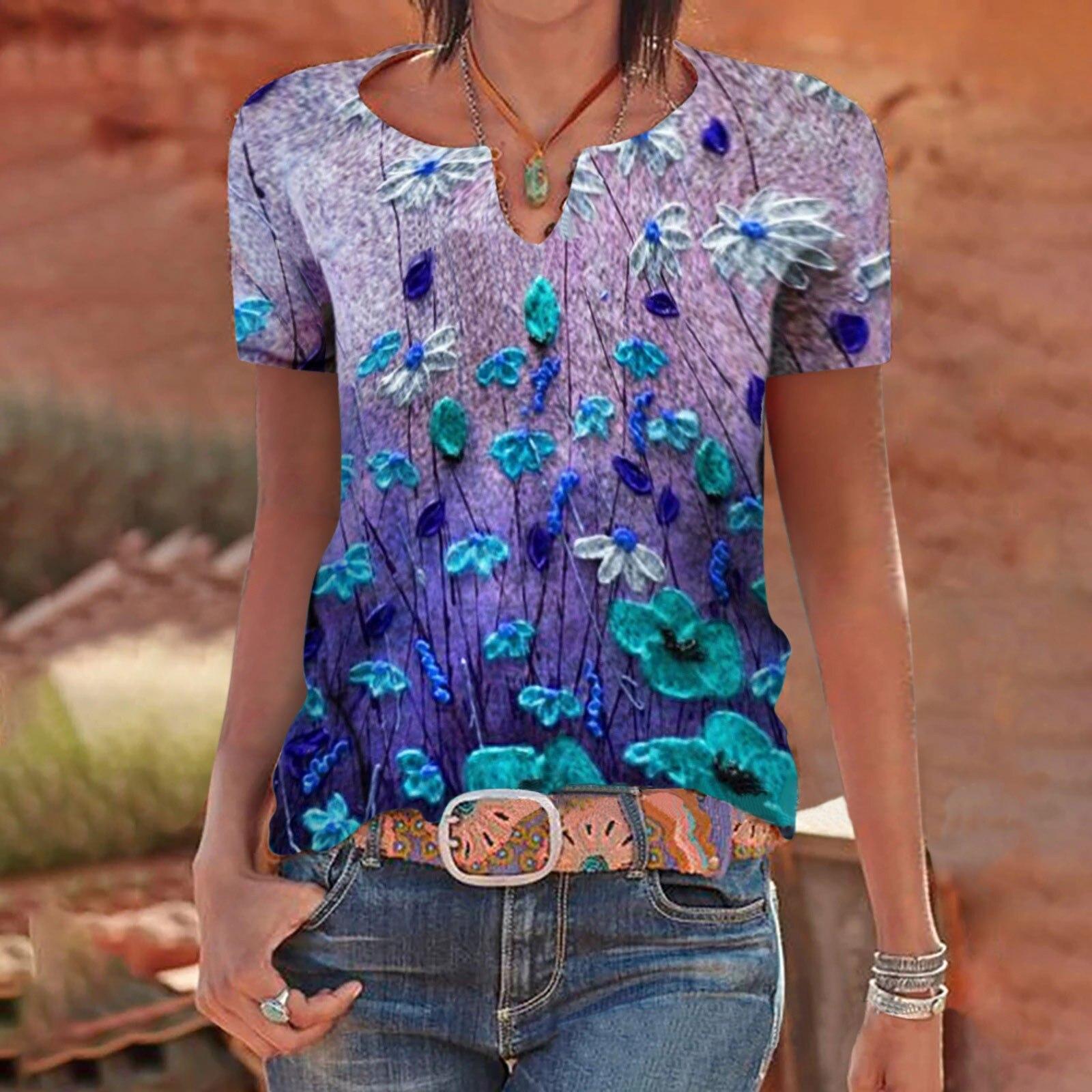 Camiseta Harajuku para Mujer, ropa informal con estampado Multicolor y cuello en...