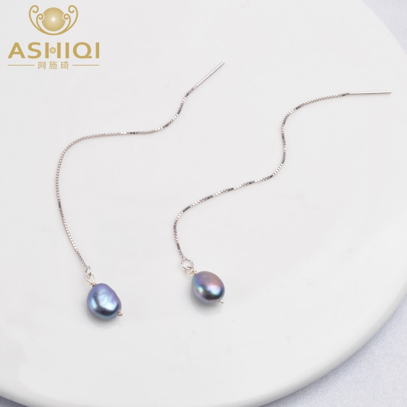 AliExpress - ASHIQI 925 Sterling Silver Long Chain Earring Pendants For Women Natural Freshwater Pearl  Jewelry Gifts for The New Year