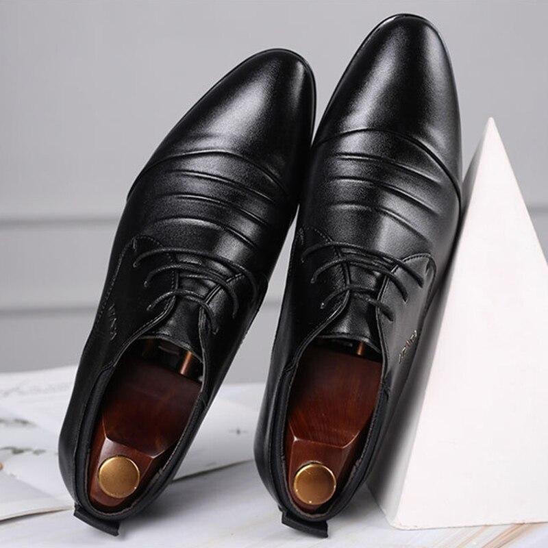 Zapatos REETENE Oxford para hombre, zapatos formales de lujo de marca, zapatos italianos de moda para hombre, zapatos de oficina de cuero para hombre, zapatos de boda de cuero