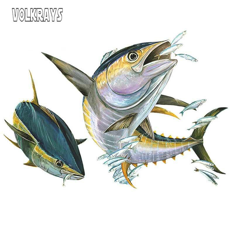 Pegatina de vinilo de dibujos para coche de volkays, protector de pez volador con atún de aleta amarilla, pegatinas solares impermeables, accesorios de decoración, 13cm * 9cm