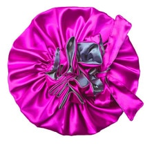 Solid Satin Bonnet with Wide Stretch Ties Long Hair Care Women Night Sleep Hat Adjust Hair Styling C