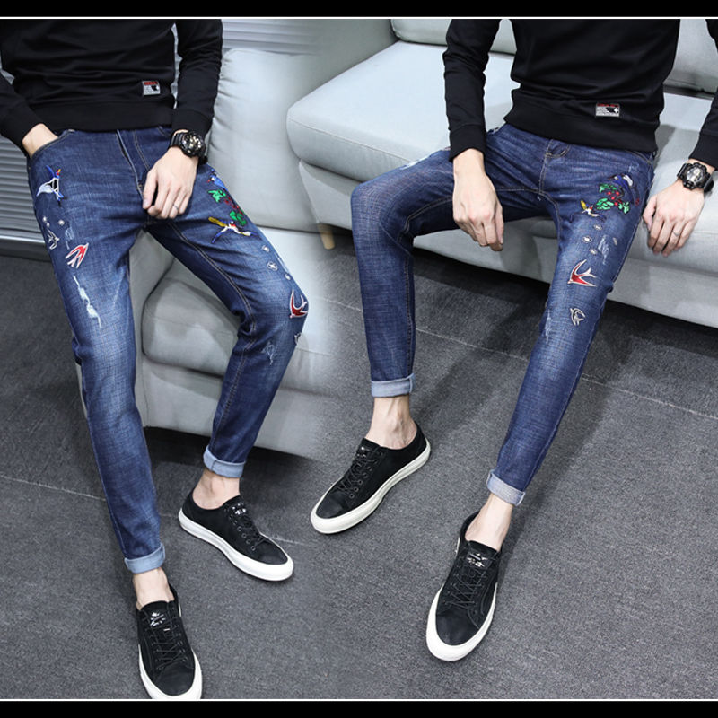 Stretch embroidered jeans men Korean fashion slim leggings black worn-out youth embroidered pants