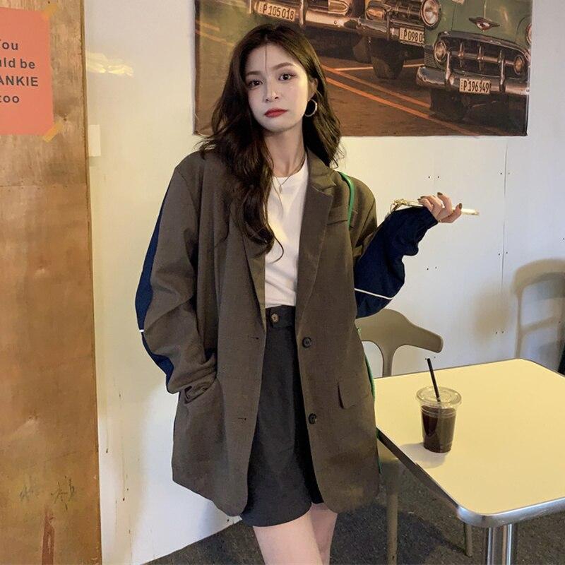 Overcoat Women Autumn 2021 New Korean Loose Design Sense Minority Jacket Splicing Long Sleeve Suit C
