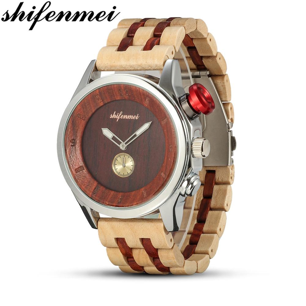 Shifenmei-ساعة رجالية مقاومة للماء ، ساعة يد بحركة يابانية ، بسوار خشبي بسيط ، S5578