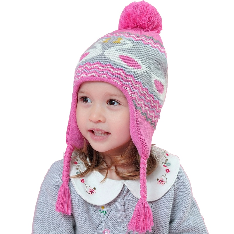 wholesale 5pcs/lot High Quality Pink Beanie Toddler Baby Girls Winter Hat Children for 6 Month To 8 Years Old Kids Hats Warm