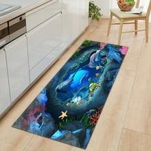3D Ocean World Fish moquette tappetino da cucina ingresso porta tappetino camera da letto decorazione del pavimento di casa soggiorno tappeto bagno tappeto antiscivolo