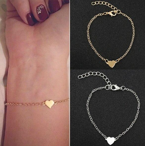 Fashion Classic Alloy Heart Chain Bracelets For Women Simple Metal Bangles Pulseiras Charm Girl Gift