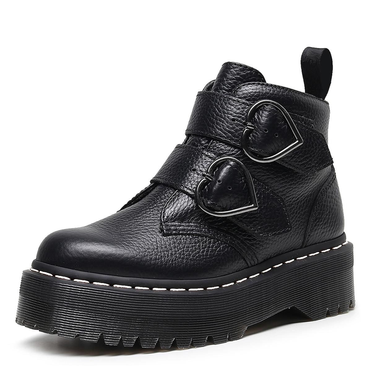 السيدات أحذية منصة عادية زيادة النساء حقيقية أحذية عالية الساق من الجلد الإناث دراجة نارية الشتاء الارتفاع حذاء من الجلد Zapatos دي Mujer