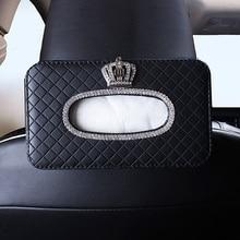Corona de cristal de coche caja de pañuelos soporte asiento trasero reposacabezas colgante caja de papel de seda diamante coche decoración Auto Accesorios