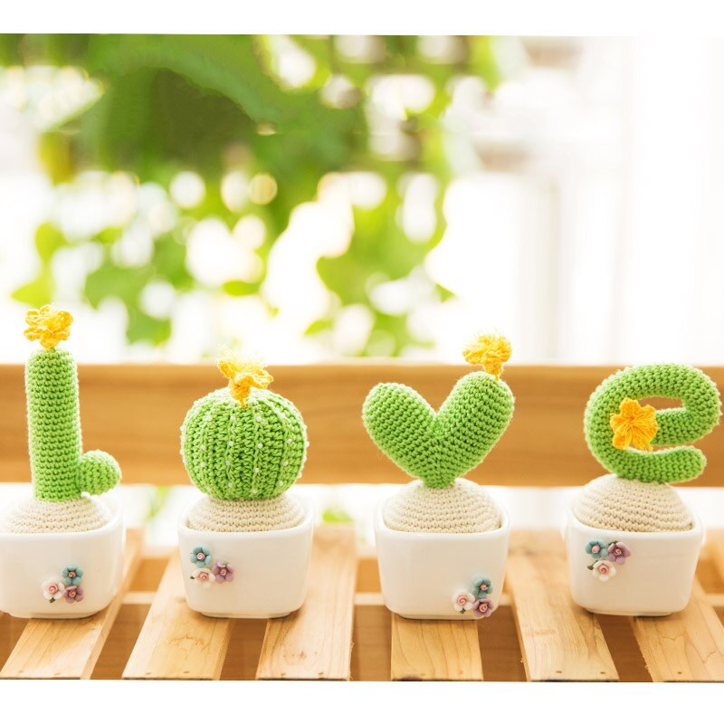 Bricolage fait à la main Mini laine à tricoter des plantes en pot Crochet artificiel figue de barbarie décoration de bureau plante verte