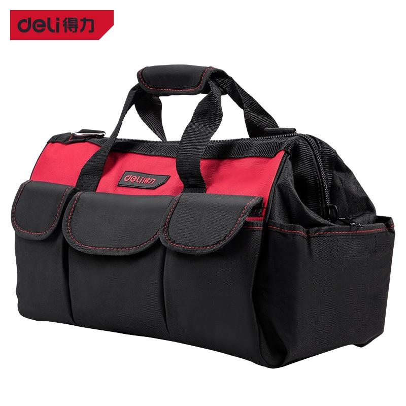 Deli 16 Inches Tools Bag Electrician Tools Bag Carpentry Hardware Repair Portable Storage Organizers Box Work Spanner ToolKiti