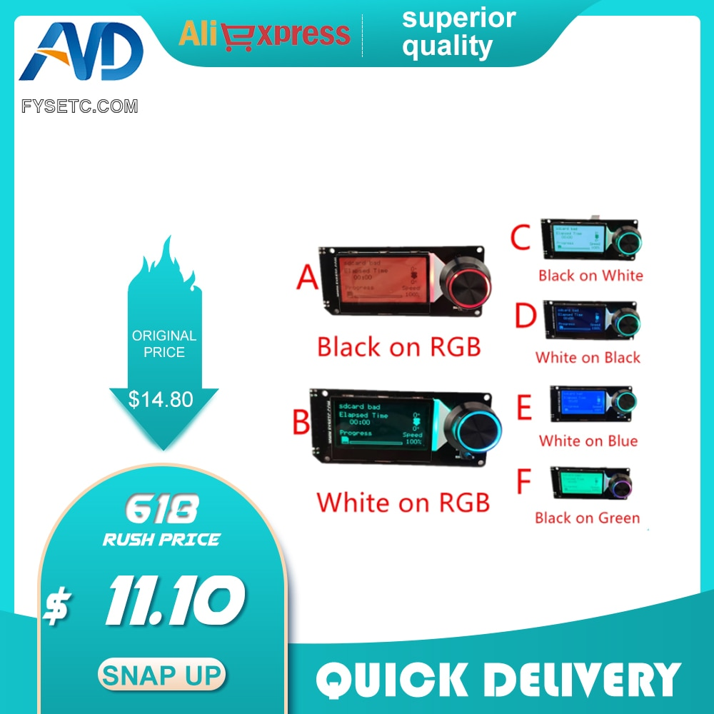 AliExpress - MINI12864 v1.2 LCD Display Screen 128×64 5V Support Marlin DIY SKR With SD Card For Voron v2.4 parts 3d Print accessories