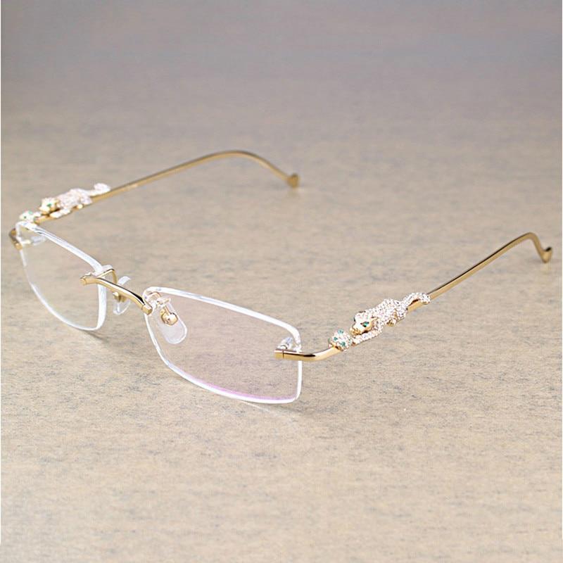Stone ليوبارد بدون إطار نظارات شفافة حجر إطار نظارات شفافة النظارات الفاخرة الرجال الاكسسوارات Oculos النظارات 6384