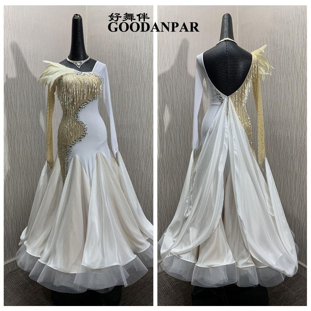 فستان رقص التانغو ، فستان رقص أبيض حديث ، مسابقة قاعة الرقص