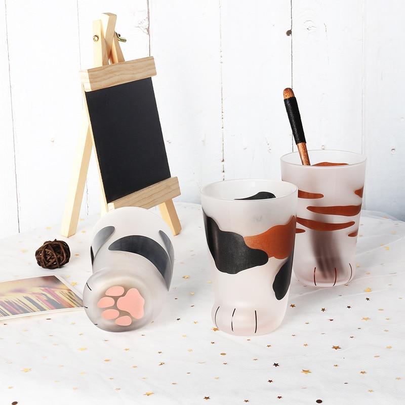 كوب مخالب قطة للأطفال ، زجاج حليب بلوري ، إبداعي ، لطيف ، مطبوع ، للقهوة ، الإفطار