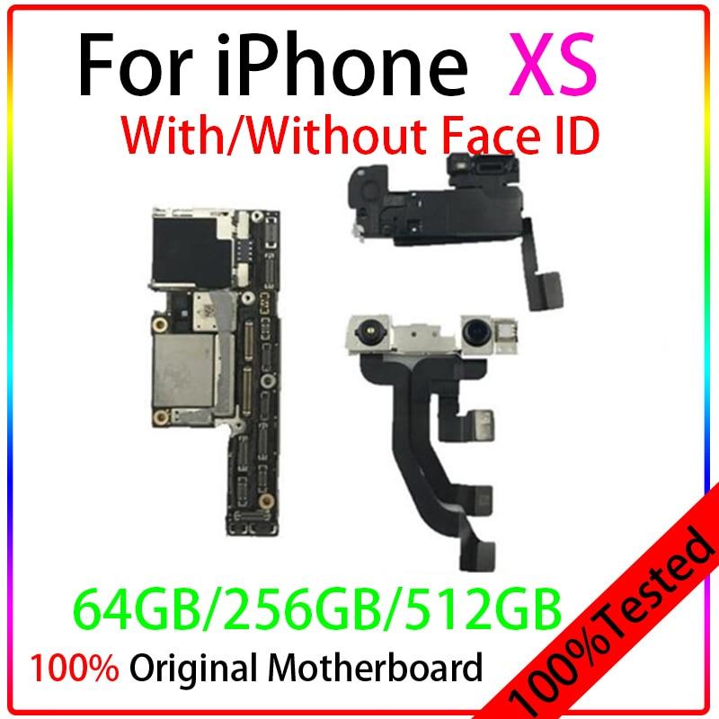 ICloud مجاني أصلي لهاتف Iphone XS اللوحة الأم مع/بدون معرف الوجه 64G 256G 512G لوحة منطقية رئيسية غير مقفلة IOS حافظة اختبار