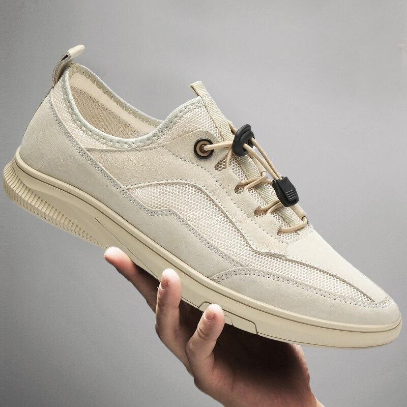 Sapatos Casuais Masculinos Verão Respirável Moda Malha Splicing Unissex Deslizamento-on Leves Marca Designer Casal Mocassins