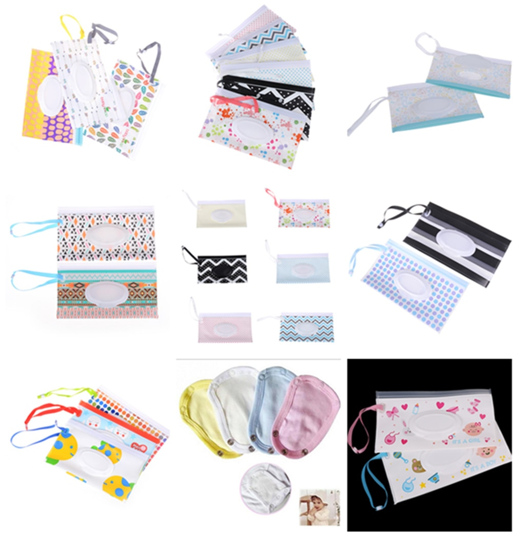 Cartoon Print Baby Wet Wipes Bag Reusable Wet Wipes Cover Container For Wet Wipes Baby Skin Care Travel Wipes Bag недорого