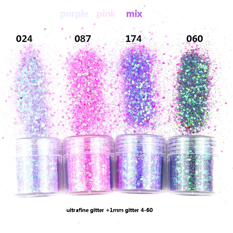 Purple Gradient Nail Sequin Glitter Powder Natural Effect Lamp Cure Natural Dry Nail Glitter Nail Ar