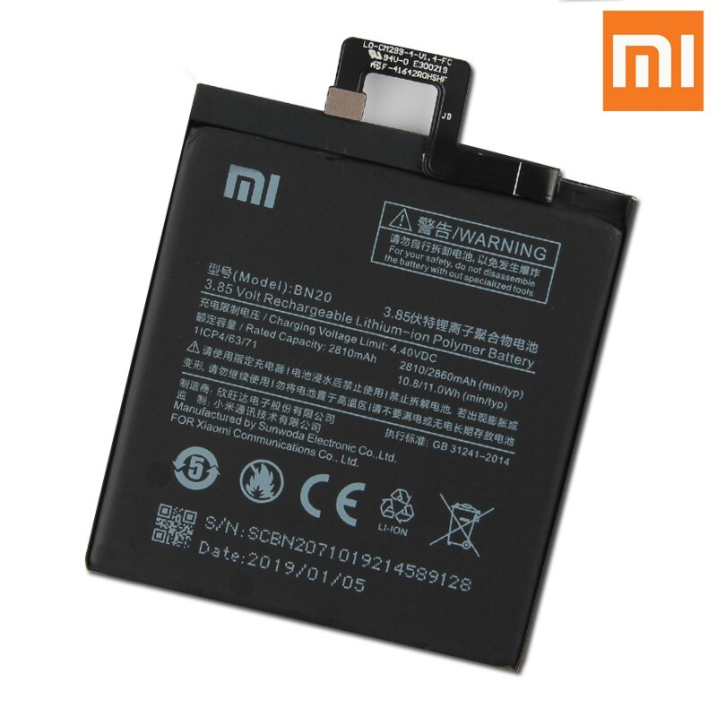 Xiao Mi Original BN20 Battery For Xiaomi 5C M5C BN20 Genuine Replacement Phone Battery 2860mAh With Free Tools enlarge
