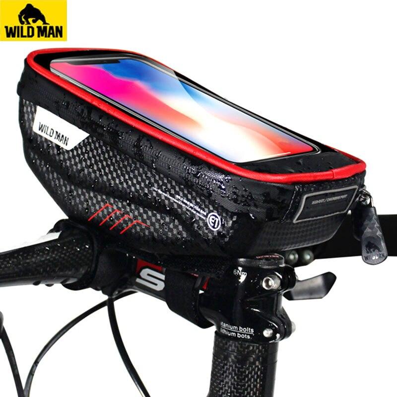 WILDEN MANN Straße Fahrrad Tasche Regendicht 5.8/6,0 Inch Telefon Fall Touchscreen MTB Tasche Top Vorne Rohr Tasche radfahren Bike Zubehör