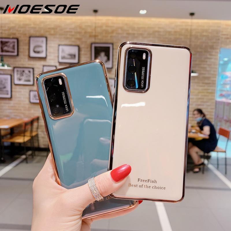 Funda de silicona suave brillante para teléfono Huawei P40 Pro P30 P20 Lite P Smart Plus 2019 Nova 7 SE Honor 20 30 Pro