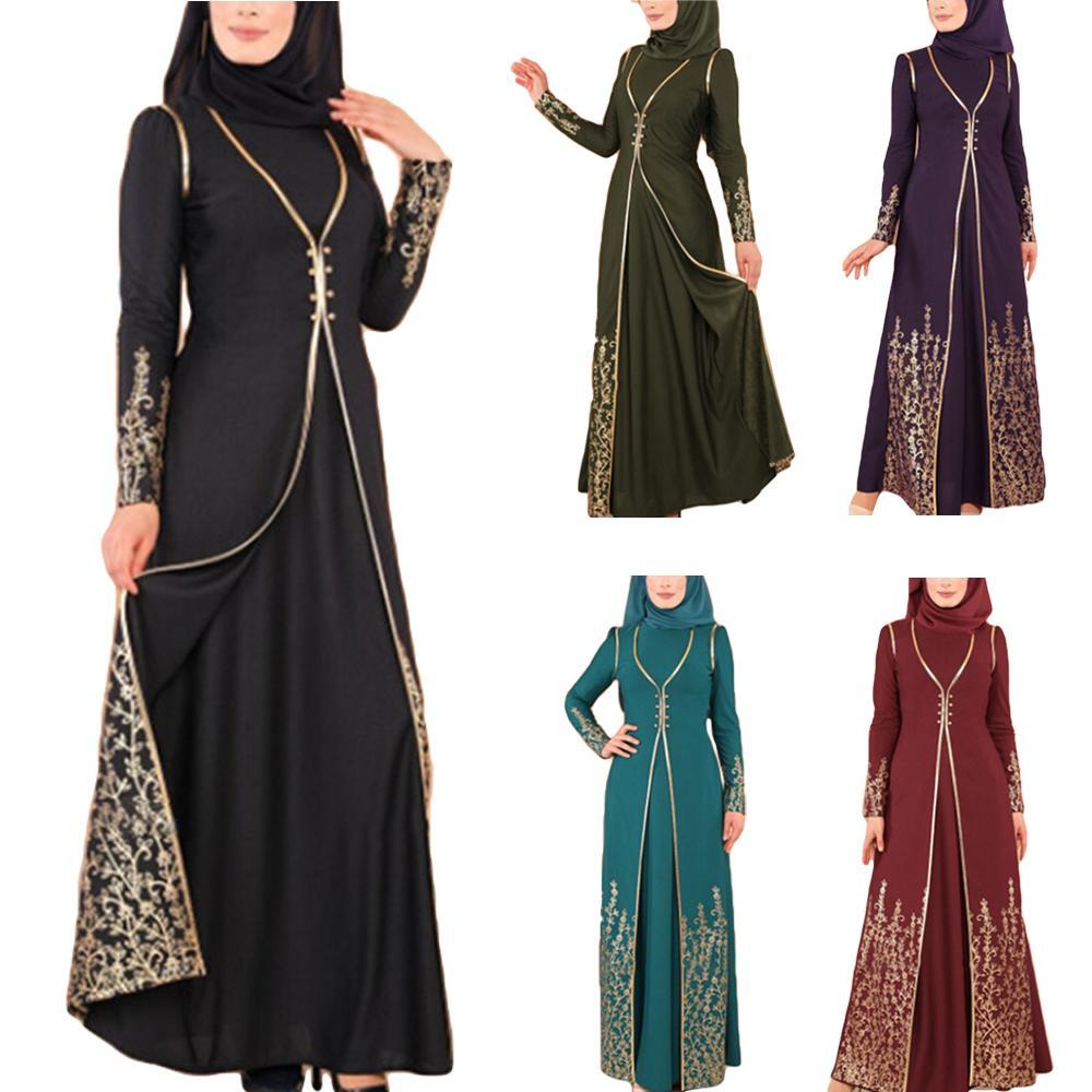 Dubai Vintage musulmán Abaya bata Maxi vestido Jilbab mujeres islámicas cóctel Kaftan árabe estampado caliente Vestido de manga larga moda 2019