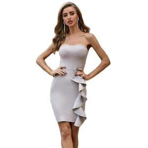 Newest Style Grey Strapless Ladies Beautiful Sexy Bandage Dress For Club
