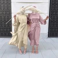 4 pieces matching muslim sets open abaya kimono eid satin dubai abayas for women arabic dress islam outfit wrap front skirt long