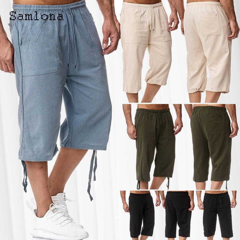 Мужские льняные брюки Samlona, модель 2021 года, летние брюки длиной до щиколотки, мужские брюки с кулиской, синие, хаки, повседневные брюки для ул...